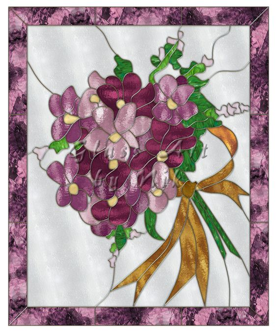 """Stained Glass Art by Nik """"Bouquet of Violets"""" Digital Stained Glass Art-Stained Glass-Glass Art - Glass Art by Nik"""