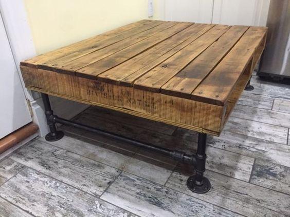 Rustic Recycled Oak & Industrial Iron Pipe Coffee Table  coffee tables   Ottawa  Kijiji