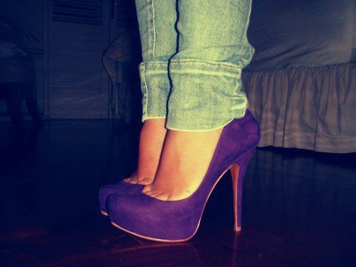Purple high heels?