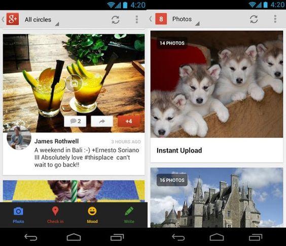 La aplicación de Google+ para Android recibió una actualización, con la cual ya se incluyen las Comunidades y la posibilidad de subir fotos en resolución completa mediante la Subida Instatánea.