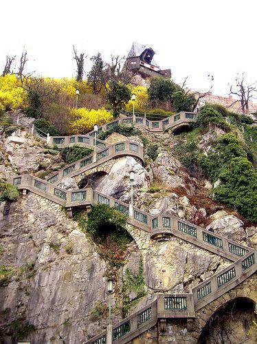 Steps up to Schlossberg. Graz, Austria   photo by Alberto De Marco