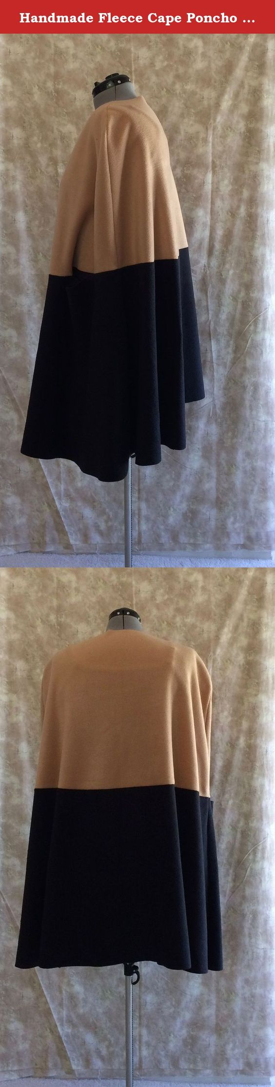 """Handmade Fleece Cape Poncho Wrap XL Camel/Black Topstitching Hand Slits. Stay warm and cozy in this women's polar fleece cape poncho wrap. Color: Camel/Black. Size: XL (22-24). Available in Large as well. Measurements for XL: Bust: 44-46"""" Waist: 37_39"""" Hips: 46-48"""" Decorative Topstitching around edges. Topstitching thread color either Black, Camel, or Black on Black/Camel on Camel. Arm slits horizontal in front seams. Silver magnetic button neck closure. (Not Shown in picture) Measures:..."""
