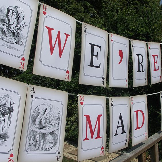 Mad Hatters Tea Party Ideas, Alice in Wonderland Party Theme. Great idea.. I would have it spell out Happy Birthday (childs name)