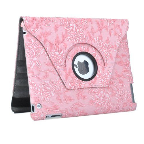 awesome ATC Pink Flower Stylish 360 Degrees Rotating Premium Leather Smart Rotary Swivel Case Cover for iPad 2 iPad 3---Hot sale,New arrive !