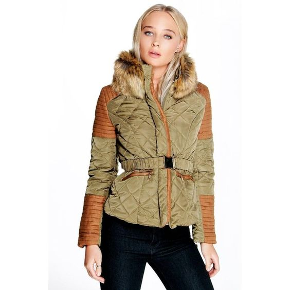 Boohoo Boutique Lola Faux Fur Collar Trim Quilted Jacket ($37) ❤ liked on Polyvore featuring outerwear, jackets, khaki, quilted jacket, bomber jacket, brown fur jacket, brown puffer jacket and khaki jacket