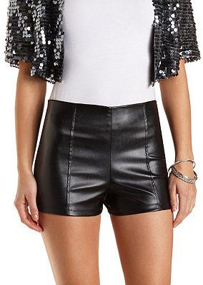 Image result for high waisted black leather shorts | Rock Star ...
