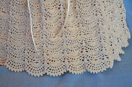 Ecru Christening / Blessing Gown Baby Dress by CherryHillCrochet