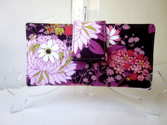 Handmade women wallet flowers in purple garden