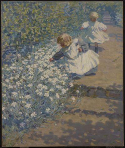 artgalleryofontario: Picking Flowers, c. 1920 Helen Galloway McNicoll (Canadian) Painting, oil on canvas Gift of R. Fraser Elliott, Toronto, in memory of Betty Ann Elliott, 1992