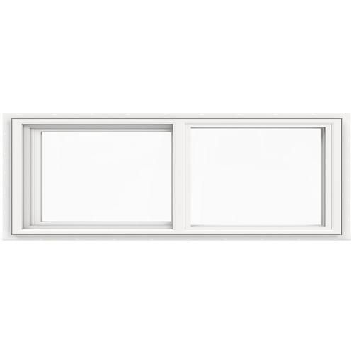 Jeld Wen V 4500 35 5 In X 11 5 In Left Operable Vinyl New Construction White Sliding Window Lowes Com In 2020 Sliding Windows New Construction Window Vinyl