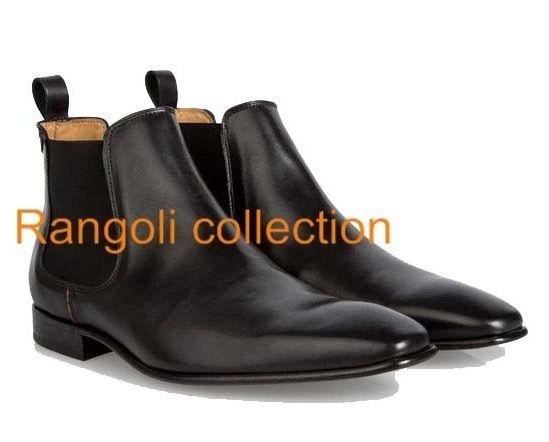 Handmade men chelsea boot Men black chelsea real leather booy