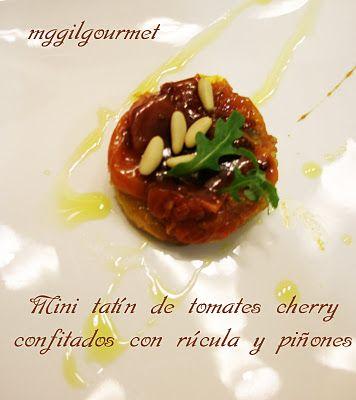 Food Fiction Zaragoza: MINI TATIN DE TOMATITOS CHERRY,RUCULA Y PIÑONES