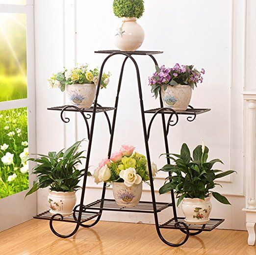 Amazon Com Metal Plant Flower Rack Indoor Flower Pot Rack