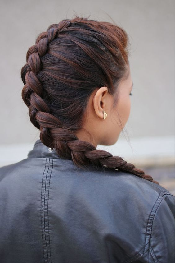 Dutch Braid for Faux Hawk Hairstyle