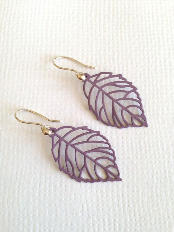 Romantic Purple Leaves Earrings by earringsgirl on Etsy, $10.00