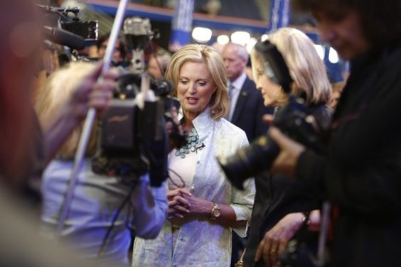 """""""Ann Romney talks with ABC's Diane Sawyer before the opening of the Republican National Convention in Tampa"""" -- The Washington Post"""
