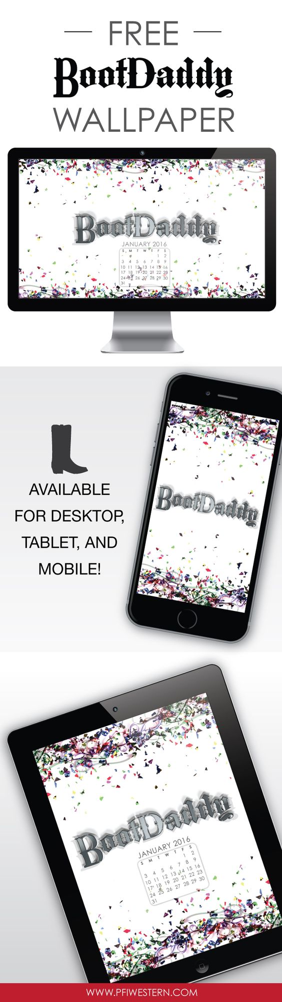 January 2016 Freebie! BootDaddy confetti downloadable desktop, mobile, or tablet wallpaper. Click to download!