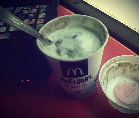 McFlurry green tea w/ red beans at 1.30pm. Nyuummmm