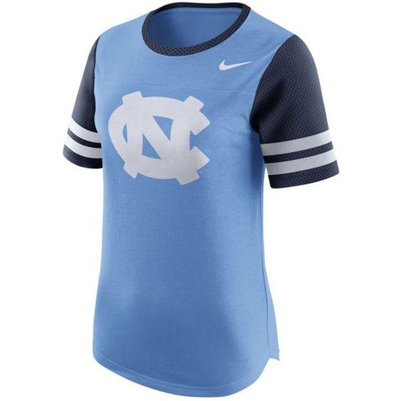 Nike Women's North Carolina Tar Heels Gear Up Modern Fan T-Shirt ($42) ❤ liked on Polyvore featuring tops, t-shirts, lightblue, light blue t shirt, short sleeve tops, short sleeve t shirts, short sleeve tee and blue short sleeve top