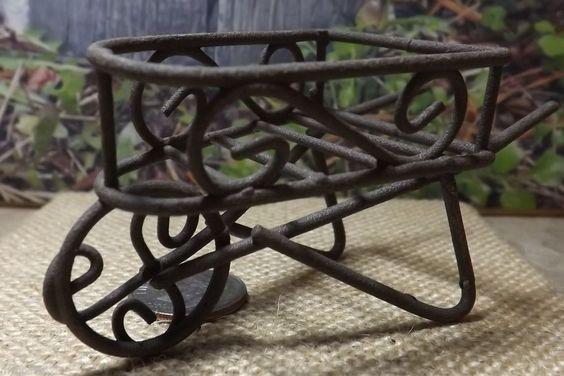 Miniature Dollhouse FAIRY GARDEN Furniture  Rustic Iron Wheelbarrow  NEW