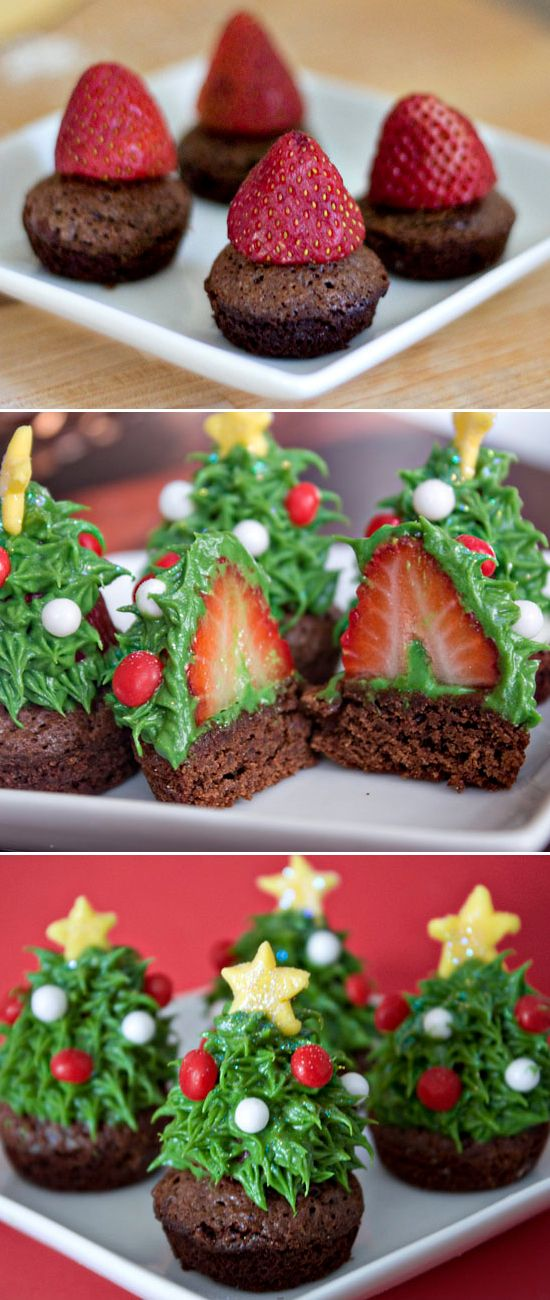 """Strawberry Christmas Tree Cupcakes - I would probably substitute the frosting with white chocolate tinted green... who doesn't like chocolate covered strawberries, plus that way, they would """"stick"""" to the brownies."""