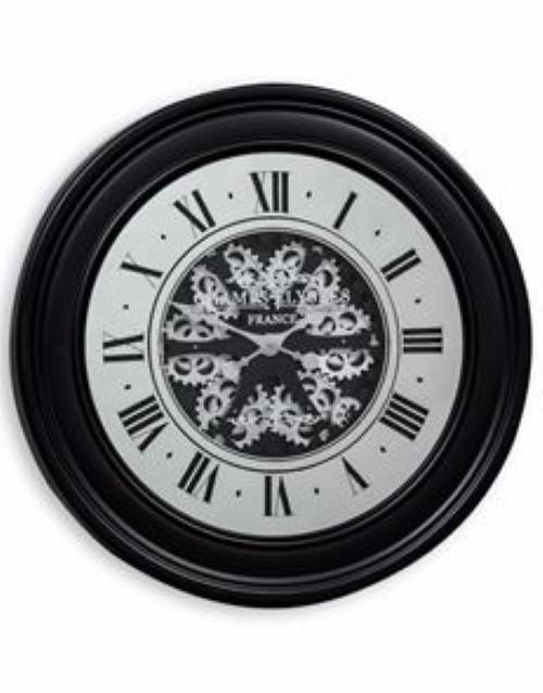 Large Black Moving Gears Clock Mirror Face Silver Cogs 80 Cm Diameter Steampunk Clock Gear Clock Black Mirror