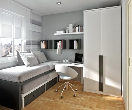 Elegant Design With Single Bed, Desk And Chair Beside Armoire And Bay  Window For Minimalist