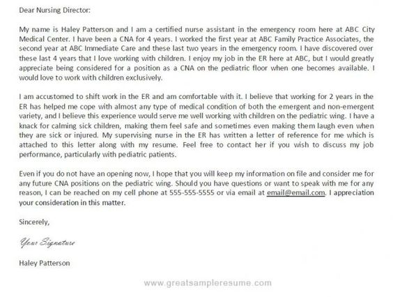 Cover Letter For A Cna