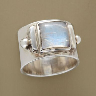 "A glimpse of a Himalayan glacier inspired the choice of icy moonstone, landlocked in its polished sterling silver setting. A handcrafted exclusive. Whole sizes 5 to 10. 1/2""W."