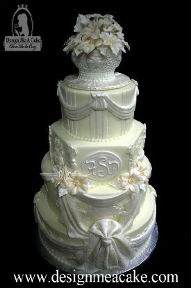 Fondant wedding cake, victorian style with gumpaste petunias.