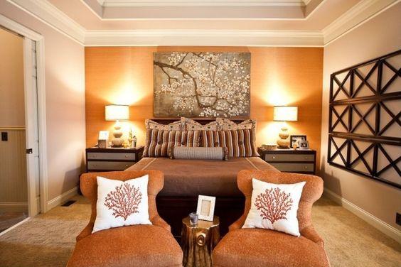 Schlafzimmer-Wandfarbe Aprikot-Wandgemälde mit Kirschbaum ...
