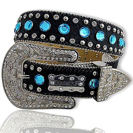 western cowgirl belts | BLUE Austrian Crystal Studded Black Rhinestone Belt XL