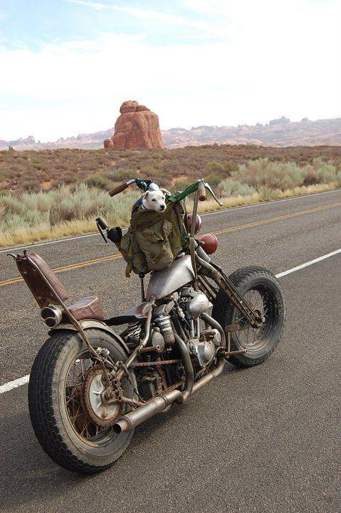Nice old custom bike on an open road..
