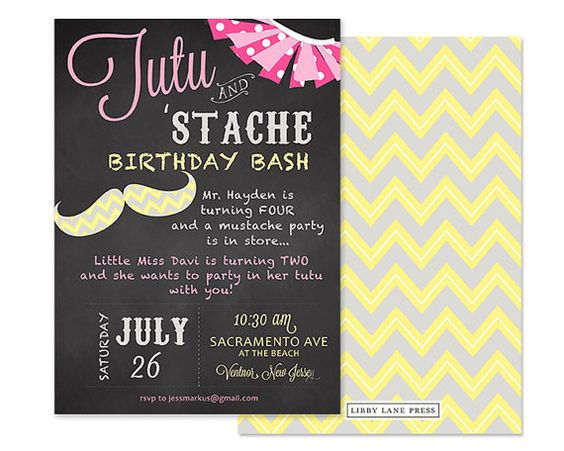 TUTU and MUSTACHE Party Invitation Boy and Girl by LibbyLanePress