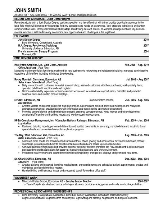 click here to this recent graduate resume