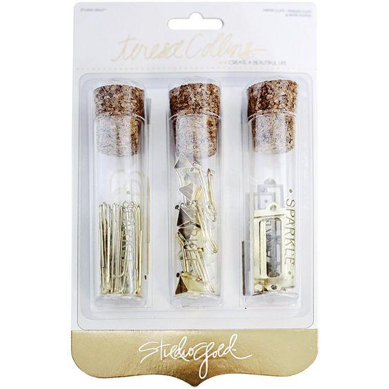 Glass Vials Containing Binder Clips, Paper Clips, Bookplates (Teresa Collins Studio Gold)