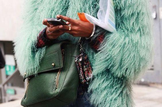 Love fashion green fake fur