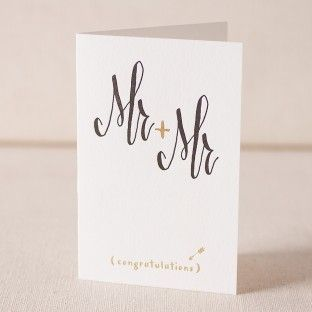 Mr and Mr Script letterpress and foil card