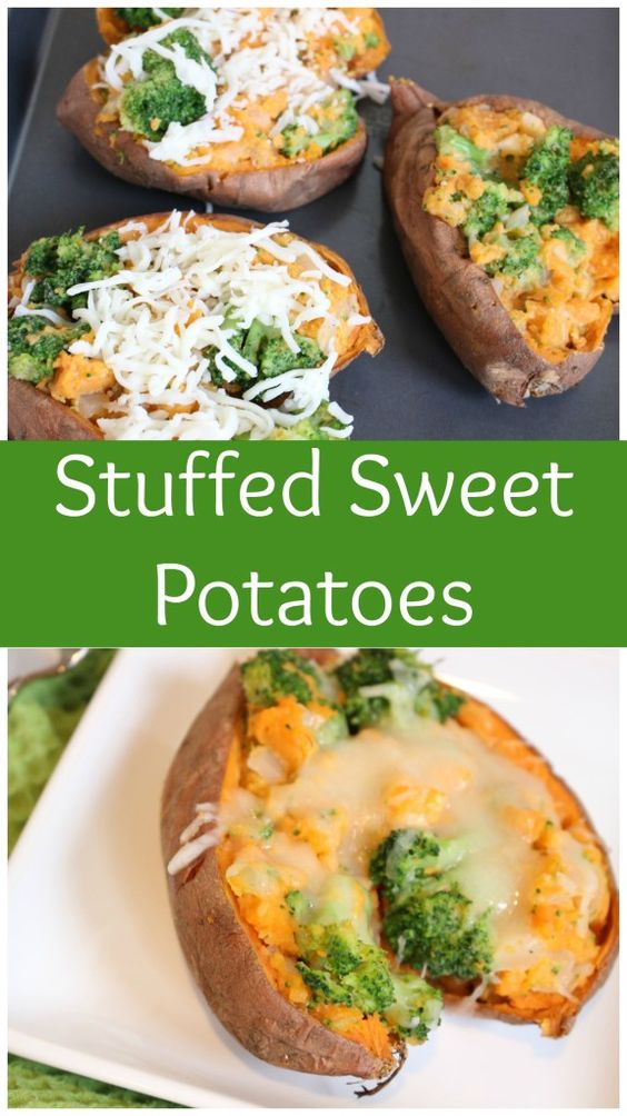 Stuffed sweet potatoes are filled and baked with veggies and cheese, making an easy weeknight meal or healthier side for Thanksgiving dinner. @MomNutrition