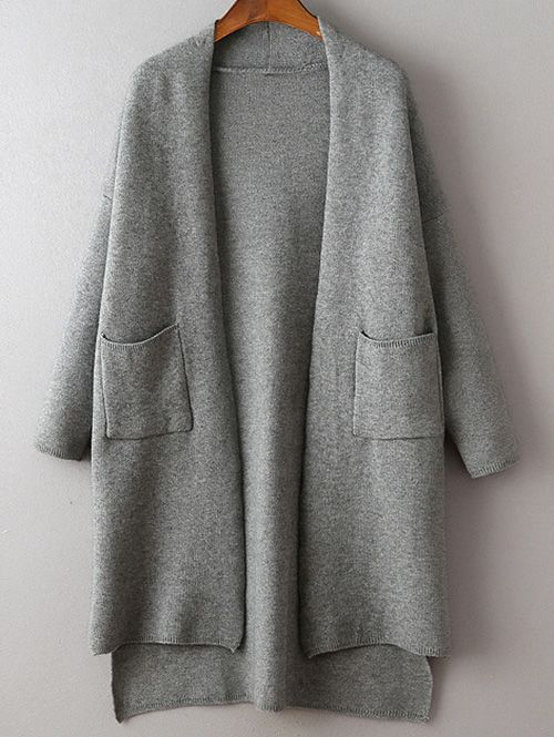 Solid Color Long Sleeve High Low Cardigan