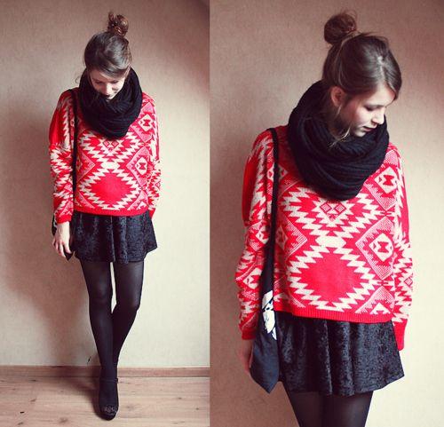 red sweater & velvet shirt // source: http://liveyourteenagedreams.blogspot.com/2011/11/nobody-move-nobody-get-hurt.html