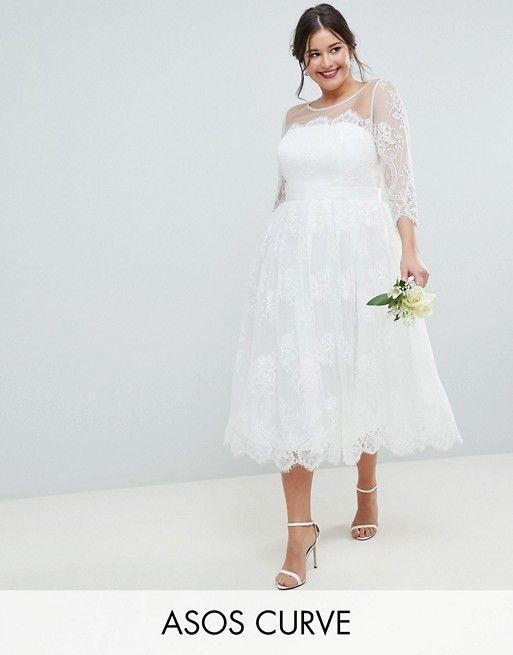 Modern Minimalist Bridal Attire Tea Length Wedding Dress