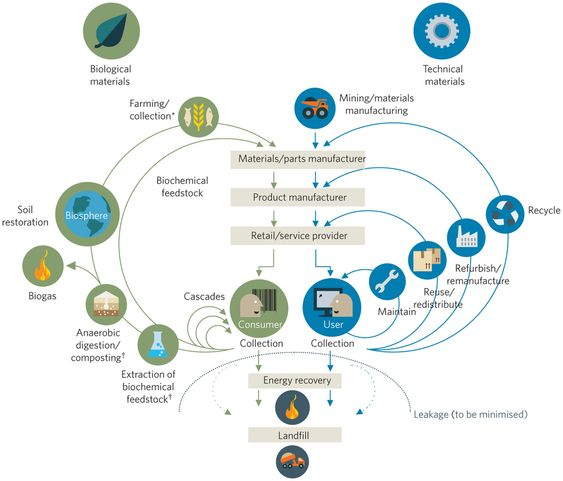 Inspired by living systems, the circular economy concept is built around optimising an entire system of resource or material flows. Like biological materials, technical materials can be part of a cycle built around reuse, remanufacture and recycling. A circular economy advocates a shift away from the consumption of products to services.  © 2013 Ellen MacArthur Foundation.