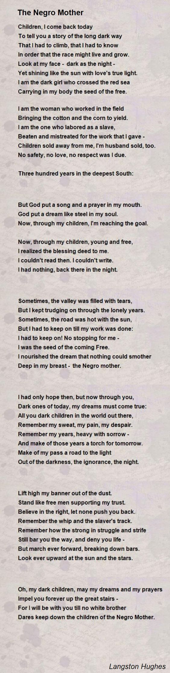 The Negro Mother by Langston Hughes.