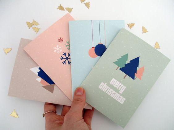 A6 Christmas Cards x4, Pastel Color Scandinavian Christmas Cards, Modern Minimalist Christmas Cards, A6 FOLDER CHRISTMAS CARDS X4