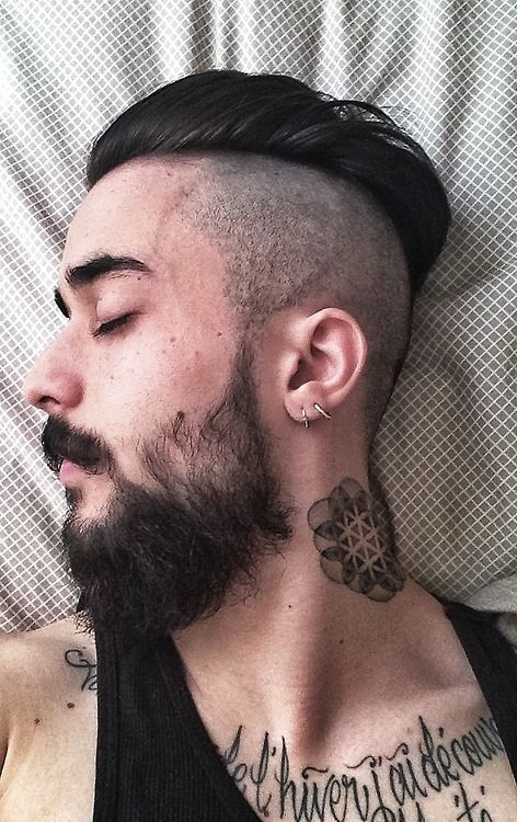 scruffy black beard and mustache nice neck tattoo tattoos tattooed mustache undercut beards bearded man men