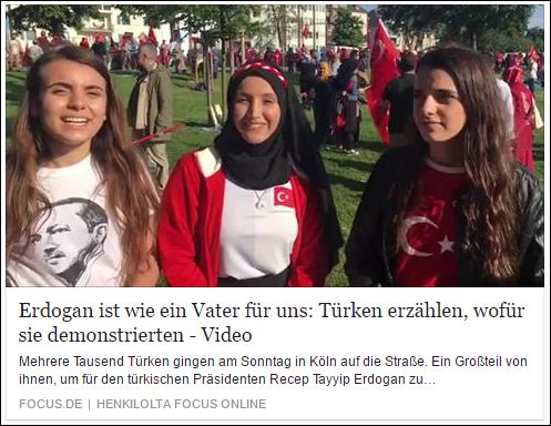 Das ist wie damals mit Hitler, alles ist ihm hinterher gerammt und hat ihn verherrlicht, bis er seine wahre Fresse zeigte.  http://www.focus.de/politik/videos/grosse-aktion-in-koeln-erdogan-ist-wie-ein-vater-fuer-uns-tuerken-erzaehlen-wofuer-sie-demonstrierten_id_5778452.html?fbc=fb-shares%3FSThisFB https://www.facebook.com/martin.riehle1