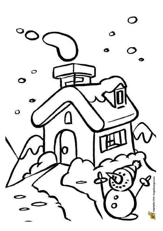 Coloriage d'un petit chalet sous la neige, avec un bonhomme de neige