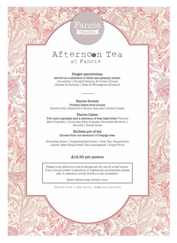 Afternoon Tea Menu Fancie Sheffield Tea Rooms