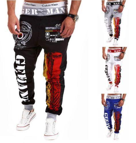 Uomo-Pantaloni-sportivi-Lunghi-Sciolto-Casual-Harem-Tuta-lettera-Pantalone-M-XXL